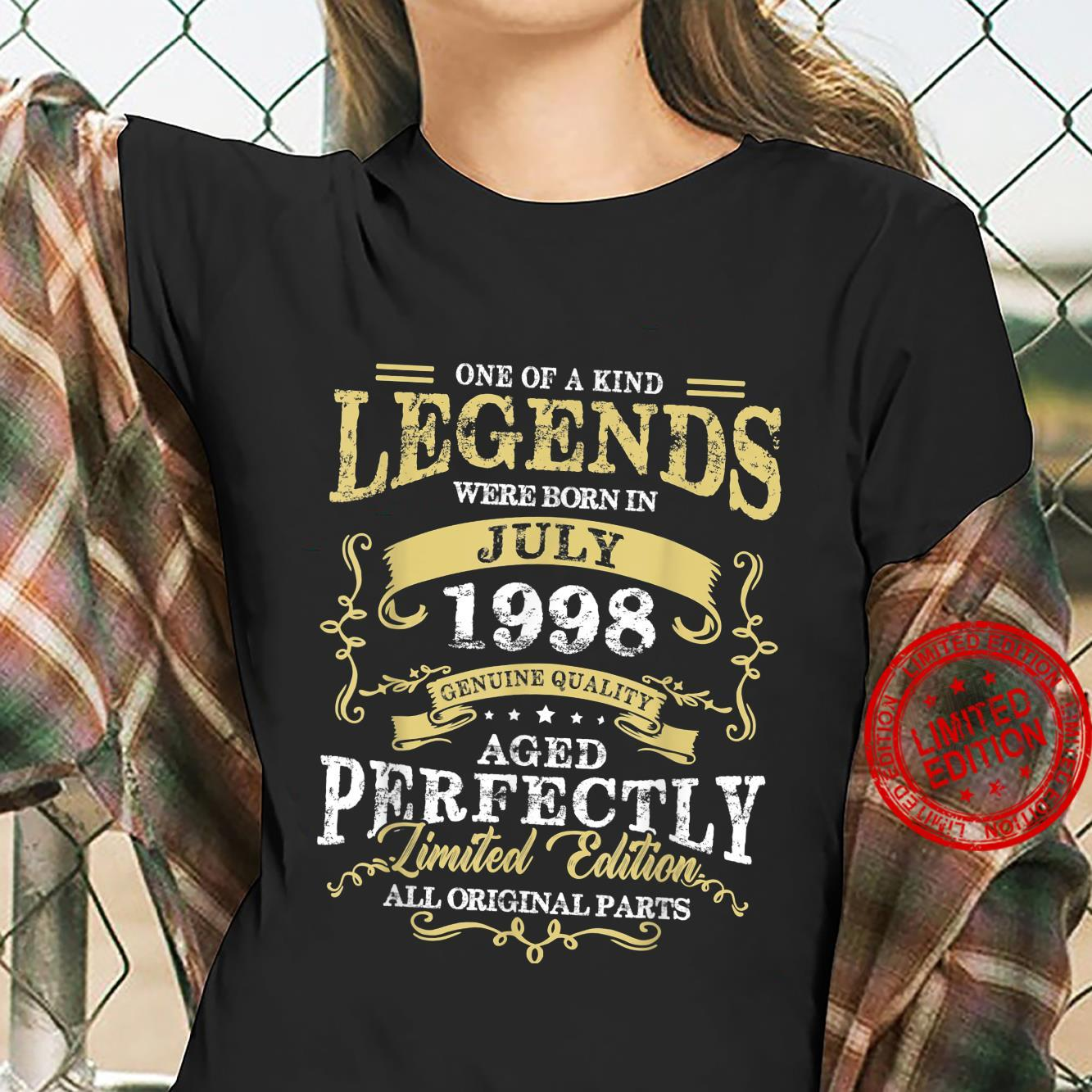 Legend Born July 1998 23rd Birthday For 23 Years Old Shirt ladies tee