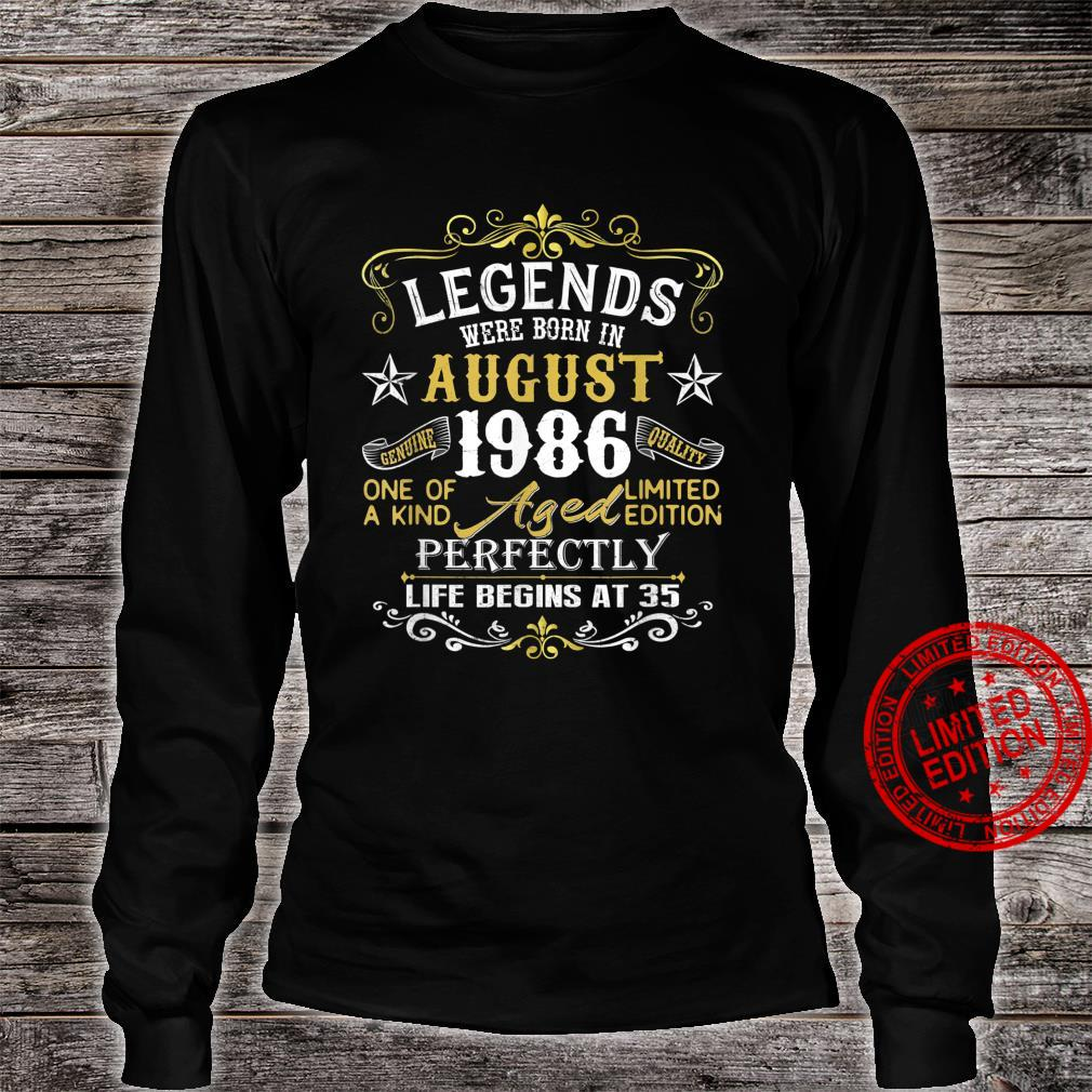 Legends Were Born In August 1986 35Th Birthday Shirt long sleeved