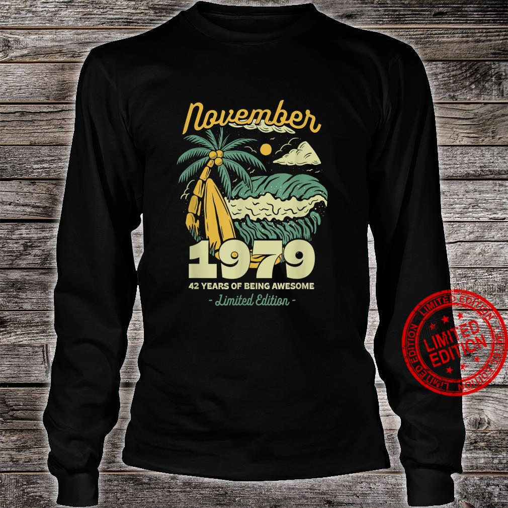 November 1979 42 Years of Being Awesome Birthday Vintage Shirt long sleeved