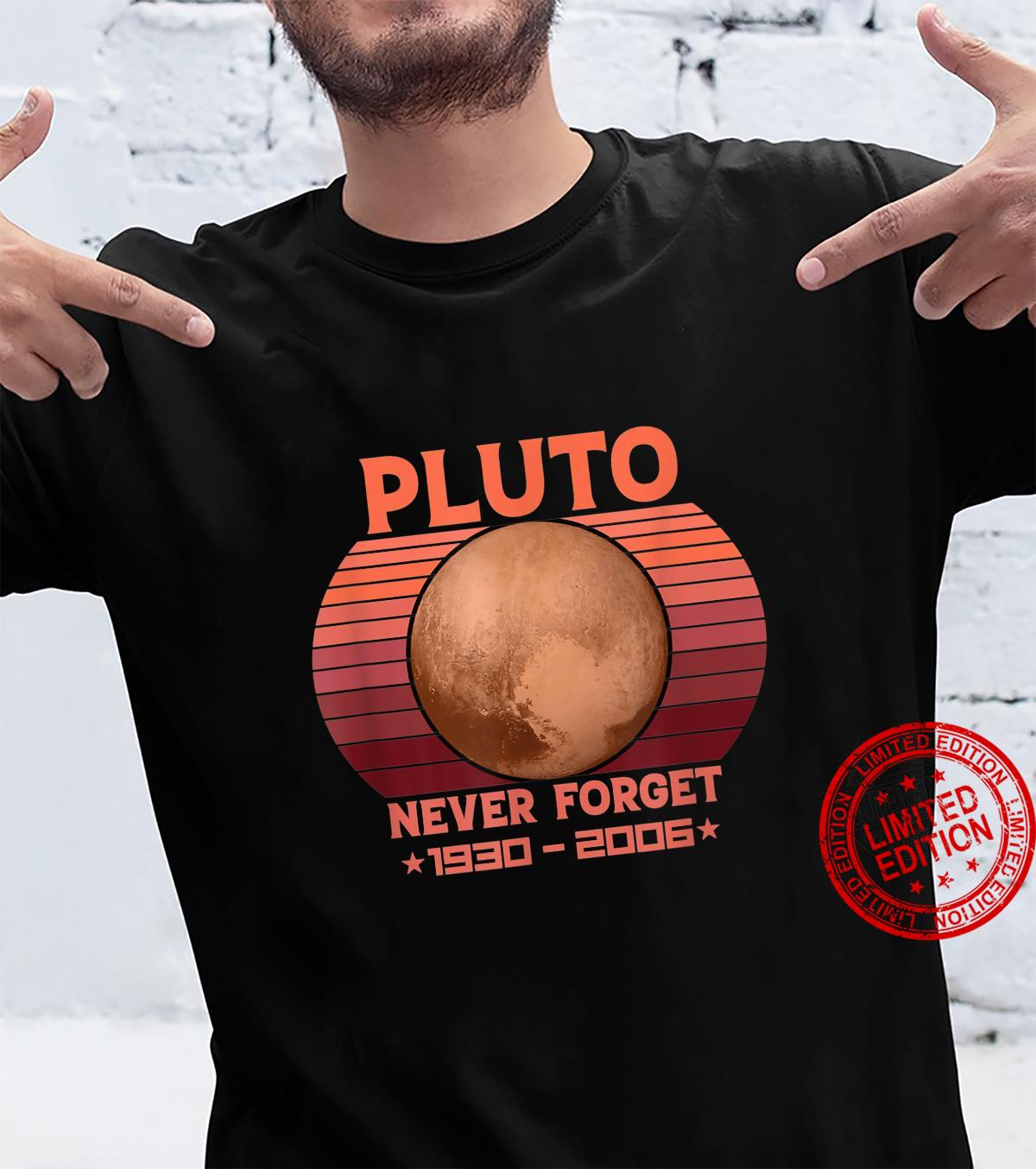 Pluto Never Forget Retro Style Space Science Shirt