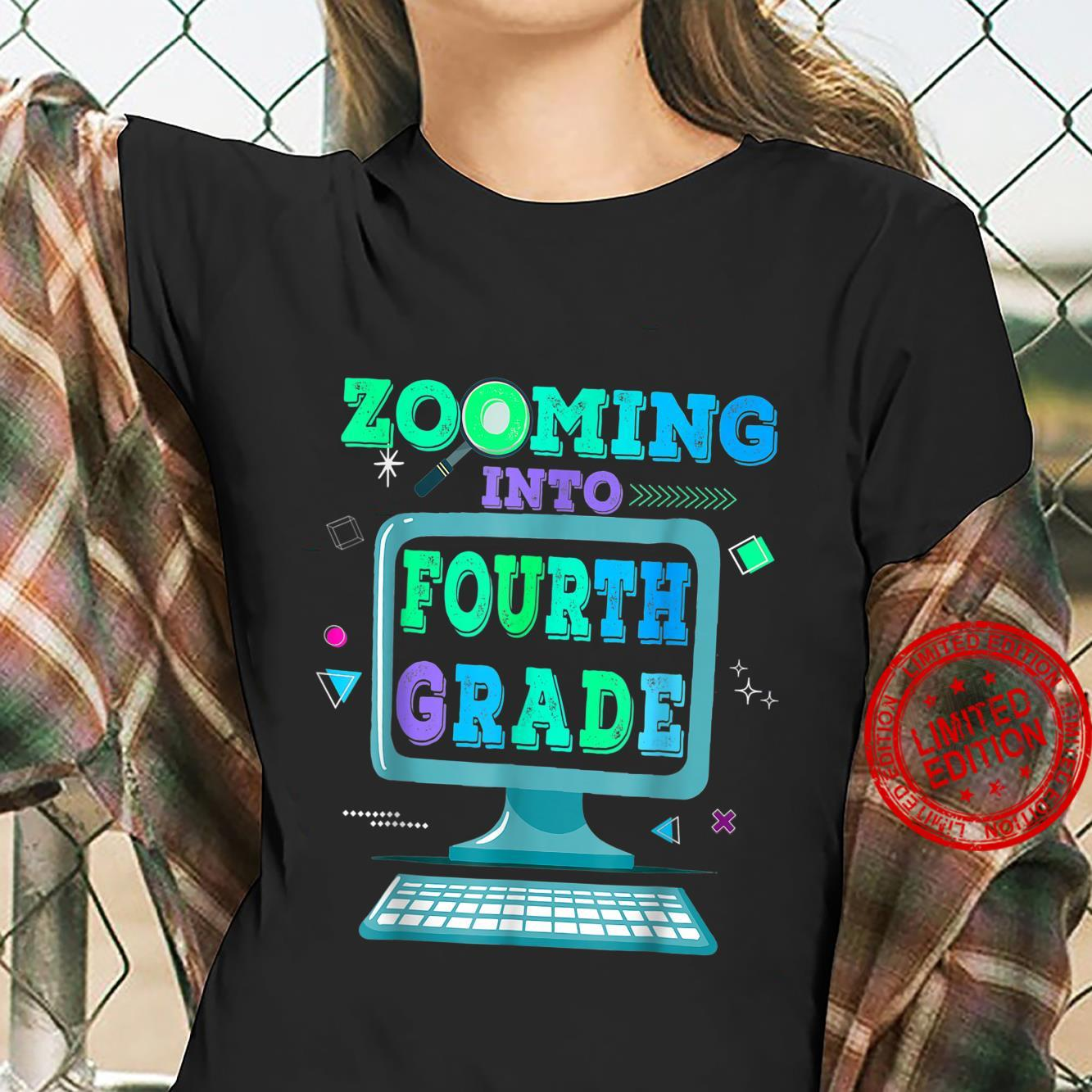 Zooming Into 4th Fourth Grade Virtual Back to School Shirt ladies tee