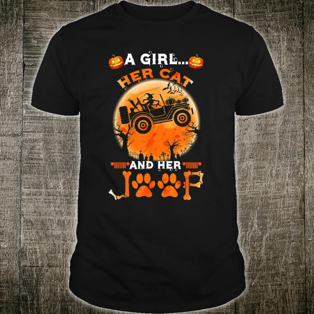 A Girl her Cat And Her Jeep Halloween Pumpkin And Witch Shirt