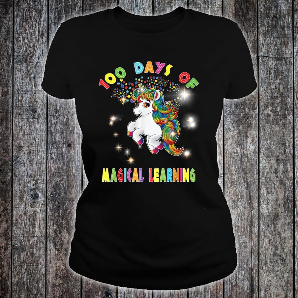 Autism Awareness 100 Days of Magical Learning School Teacher Shirt ladies tee