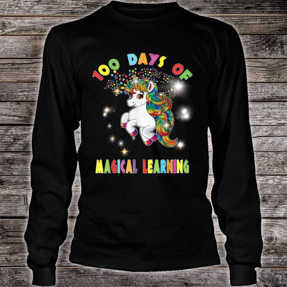 Autism Awareness 100 Days of Magical Learning School Teacher Shirt long sleeved