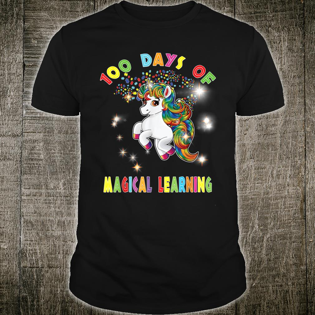 Autism Awareness 100 Days of Magical Learning School Teacher Shirt