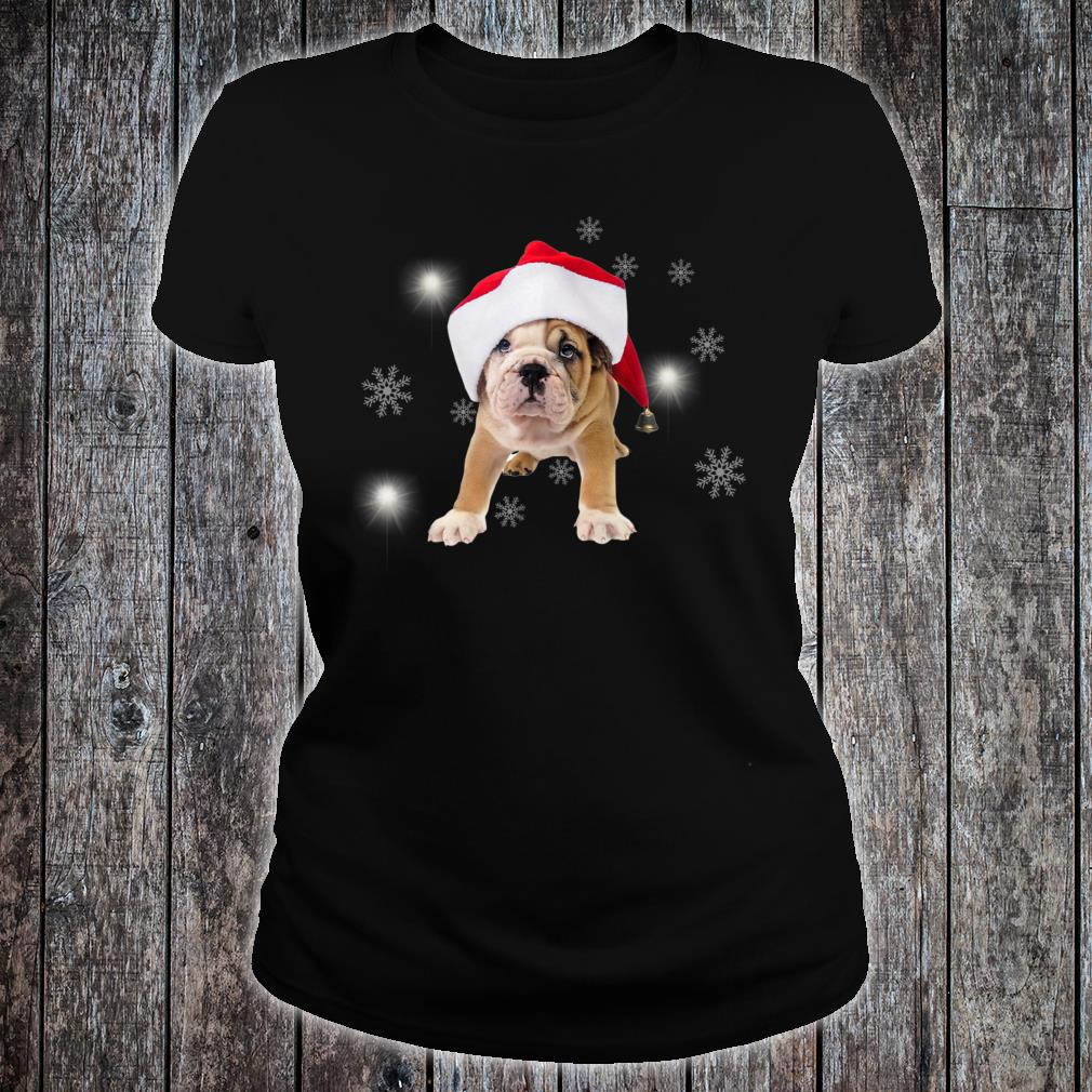 Bulldog Santa Hat Snow Christmas Present Shirt ladies tee