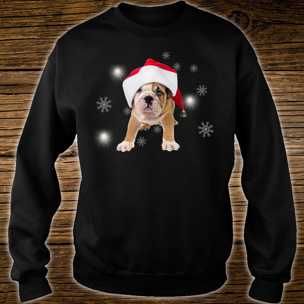 Bulldog Santa Hat Snow Christmas Present Shirt sweater