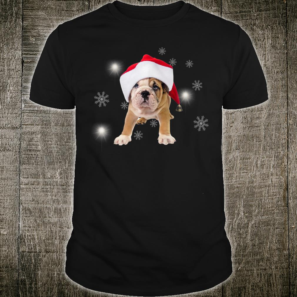 Bulldog Santa Hat Snow Christmas Present Shirt