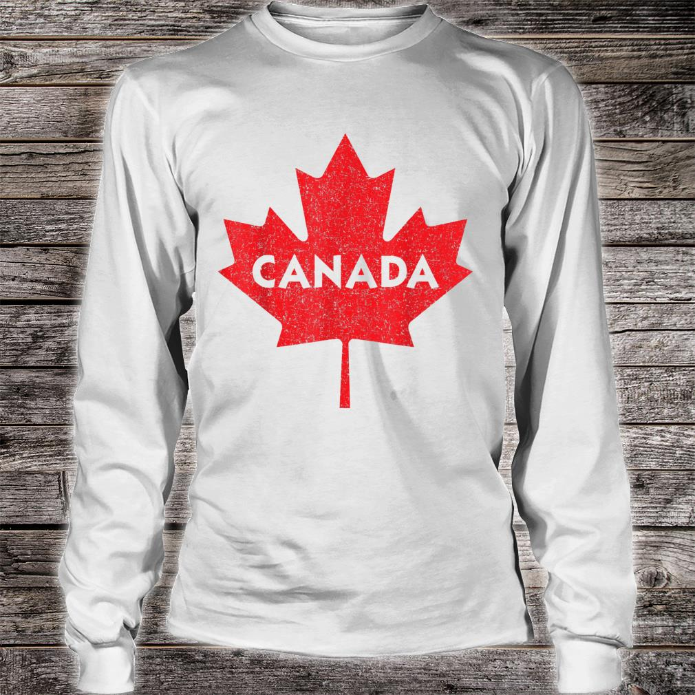 Canada Maple Leaf Distressed Red Print Shirt long sleeved