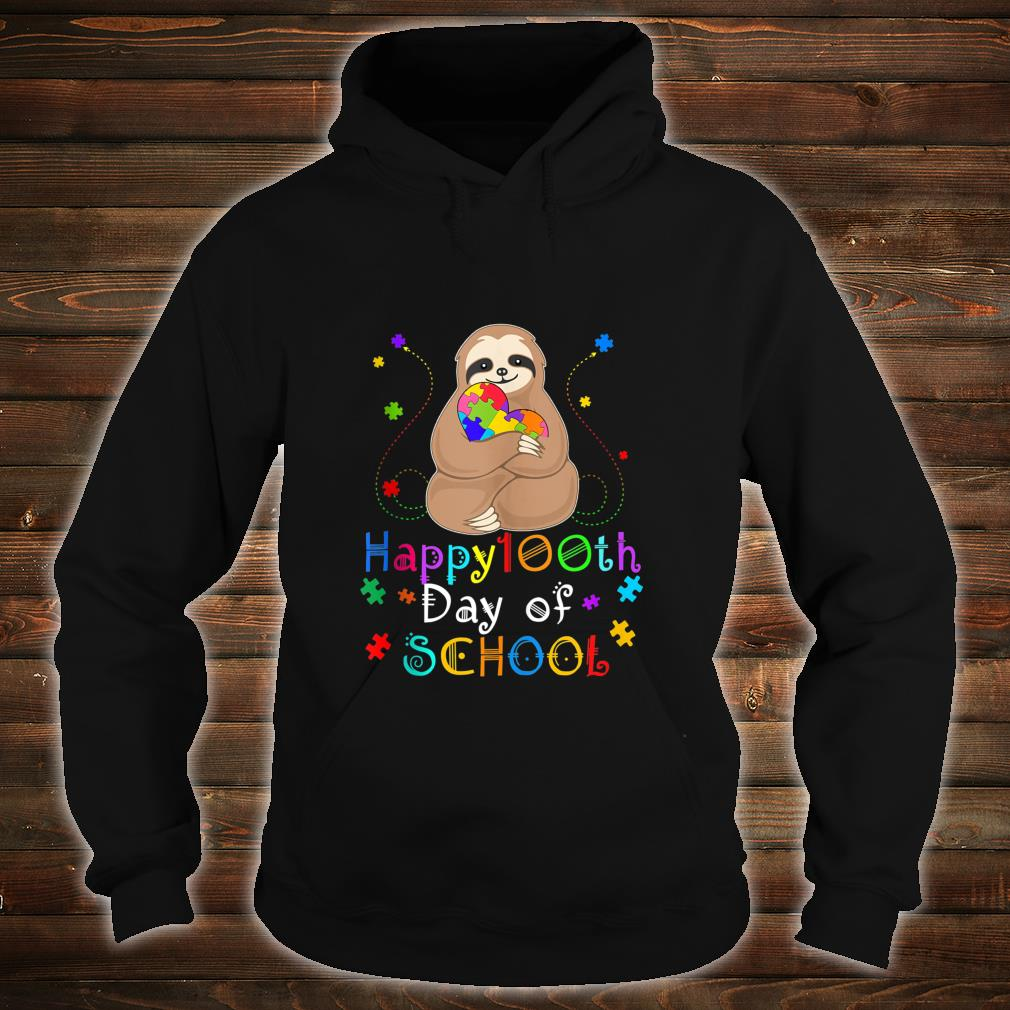 Cool 100th Day of School Teacher Autism Awareness Sloth Shirt hoodie