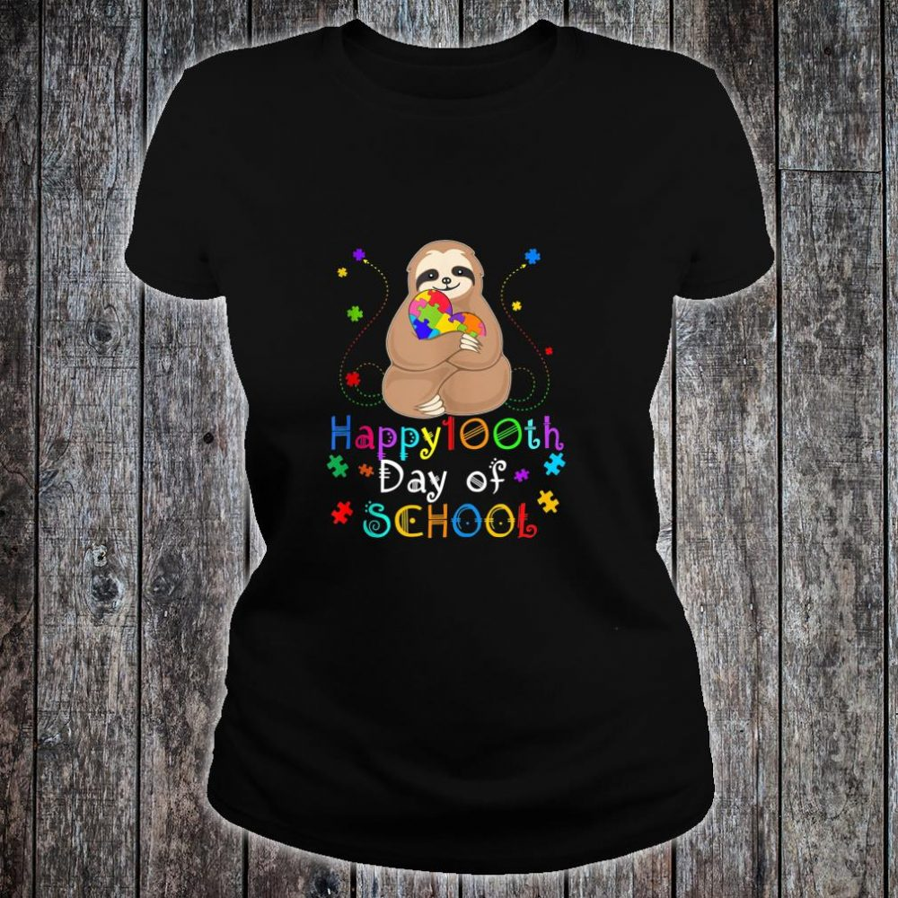 Cool 100th Day of School Teacher Autism Awareness Sloth Shirt ladies tee