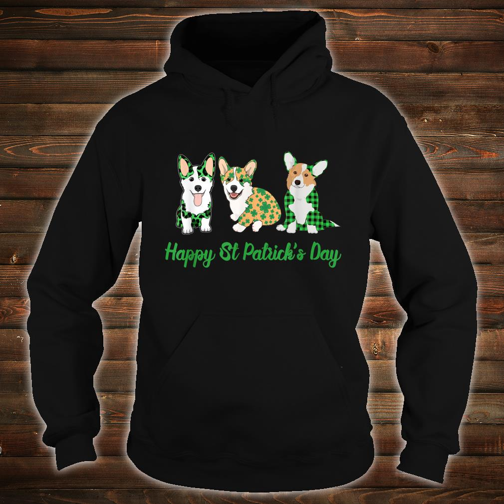 Corgi Green Plaid Leopard Happy Patrick's Day Shirt hoodie