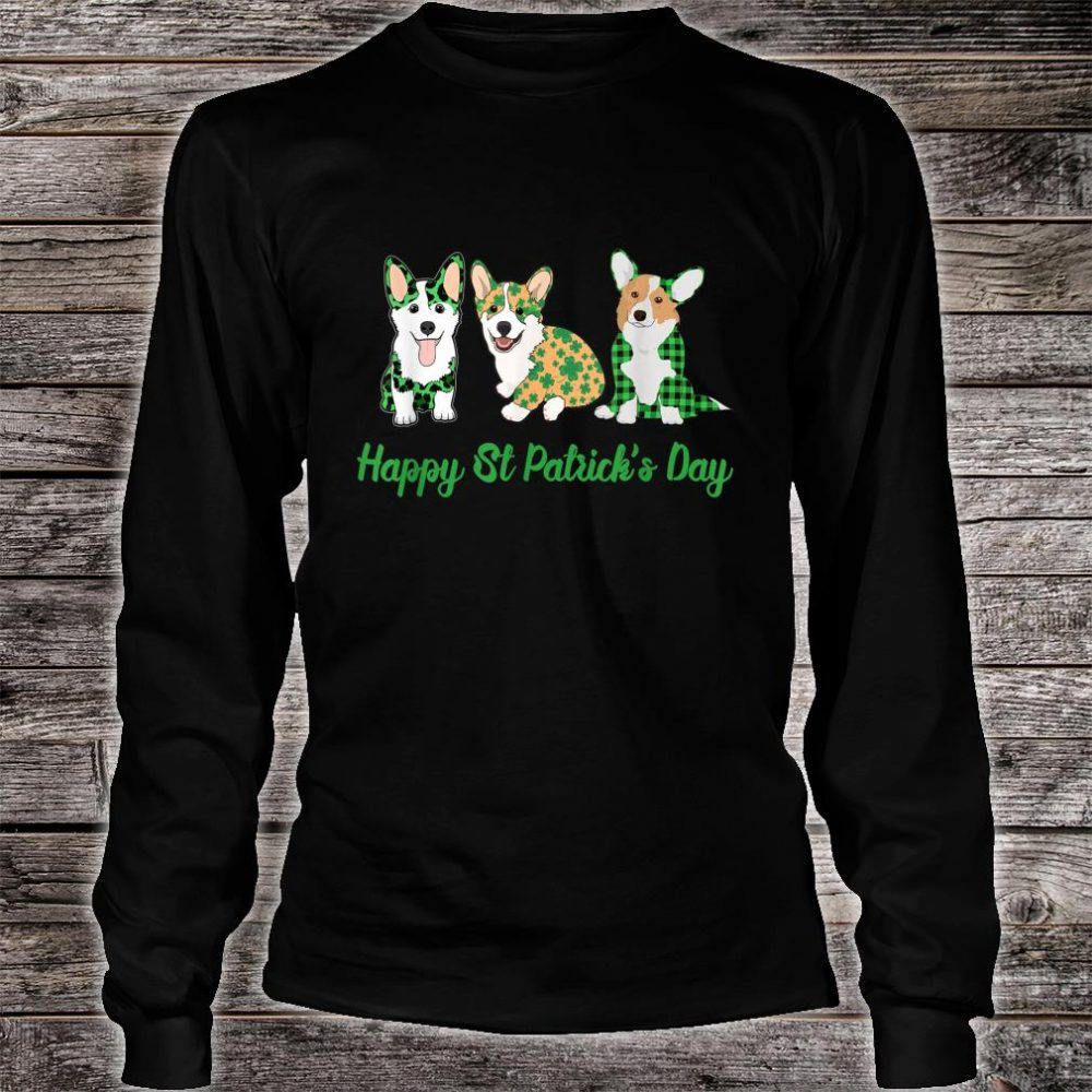 Corgi Green Plaid Leopard Happy Patrick's Day Shirt long sleeved