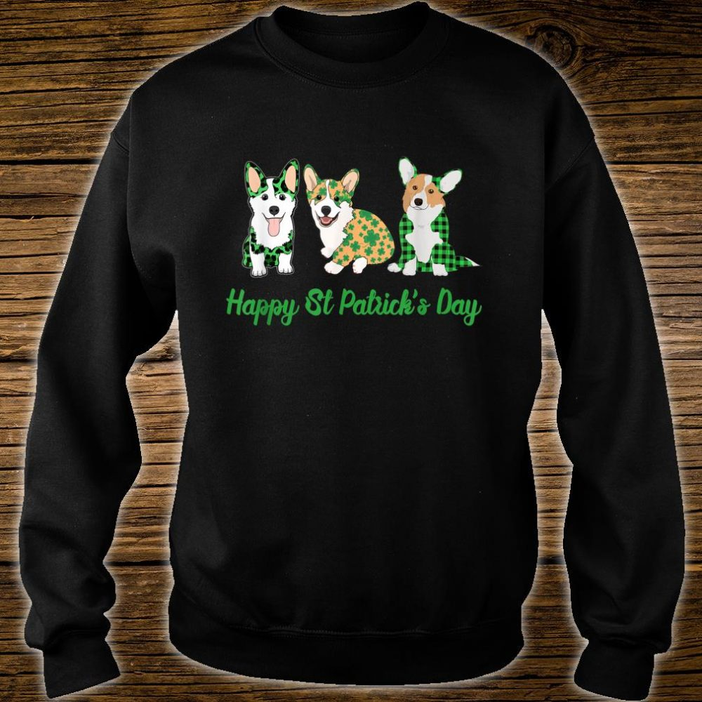 Corgi Green Plaid Leopard Happy Patrick's Day Shirt sweater