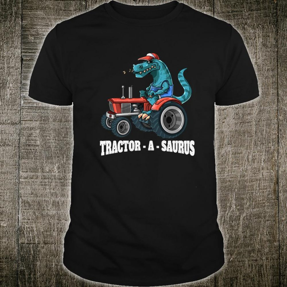 Dinosaur On Tractor TractorASaurus Farmer Boys Girls Shirt