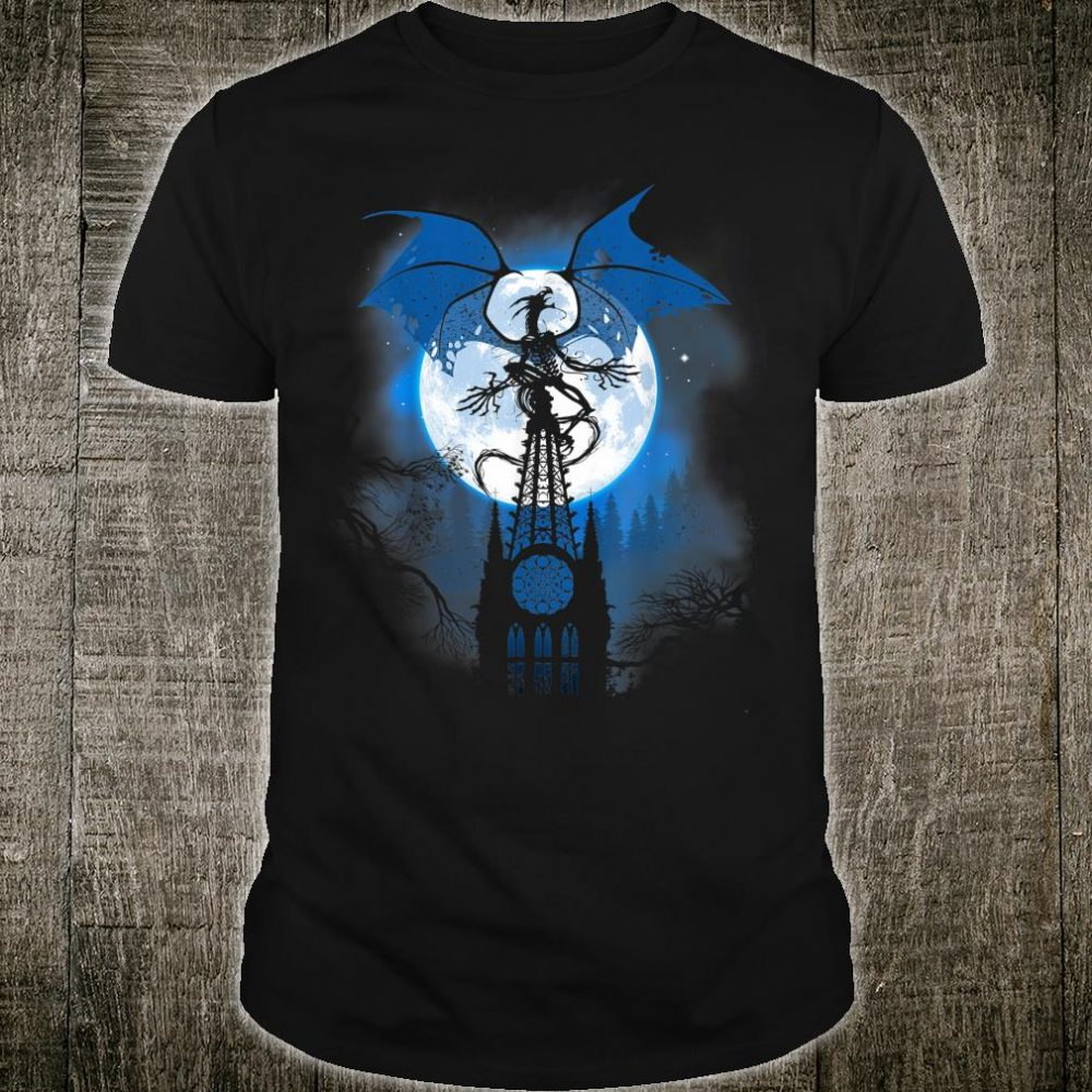 Dragon over cathedral with full moon Shirt