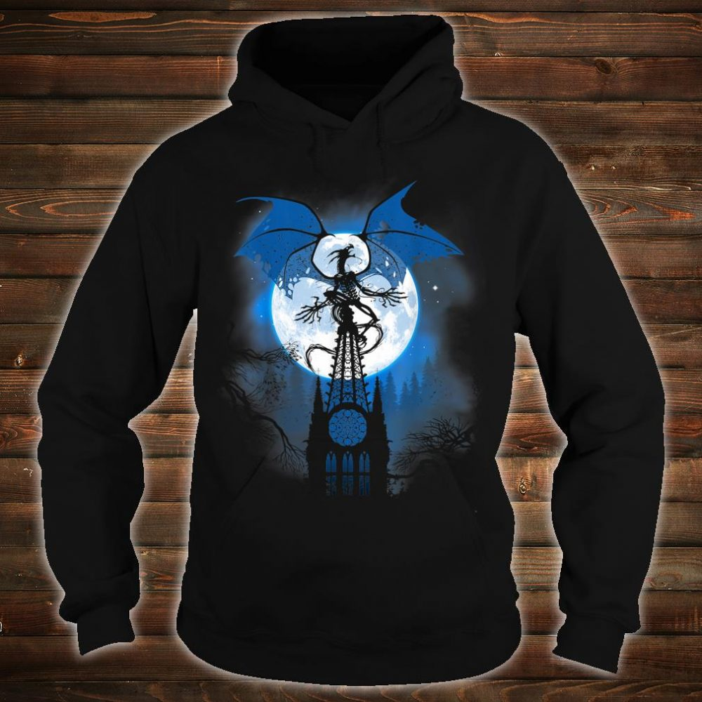 Dragon over cathedral with full moon Shirt hoodie