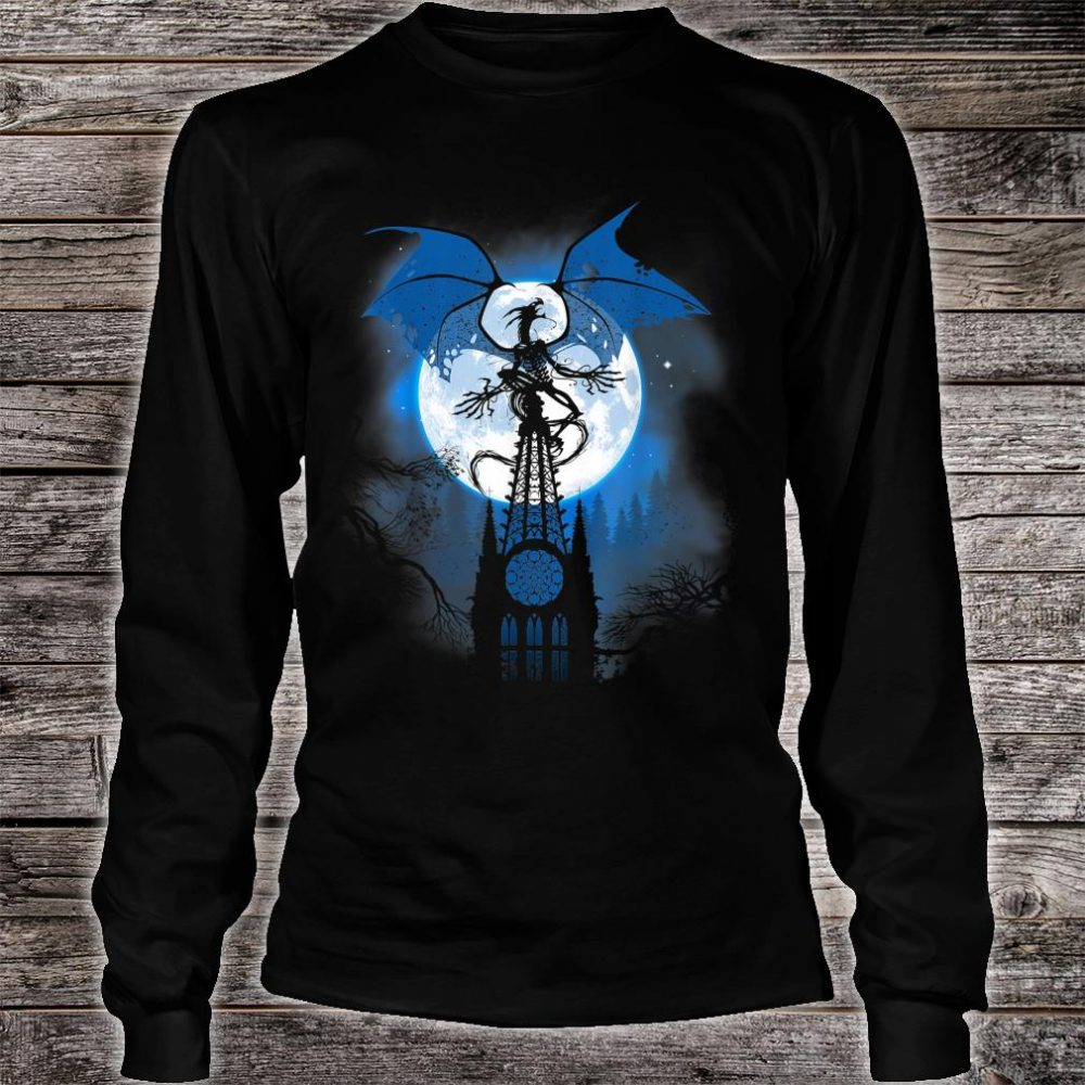 Dragon over cathedral with full moon Shirt long sleeved