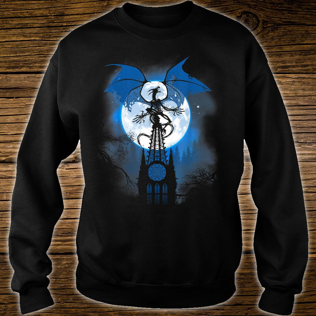 Dragon over cathedral with full moon Shirt sweater