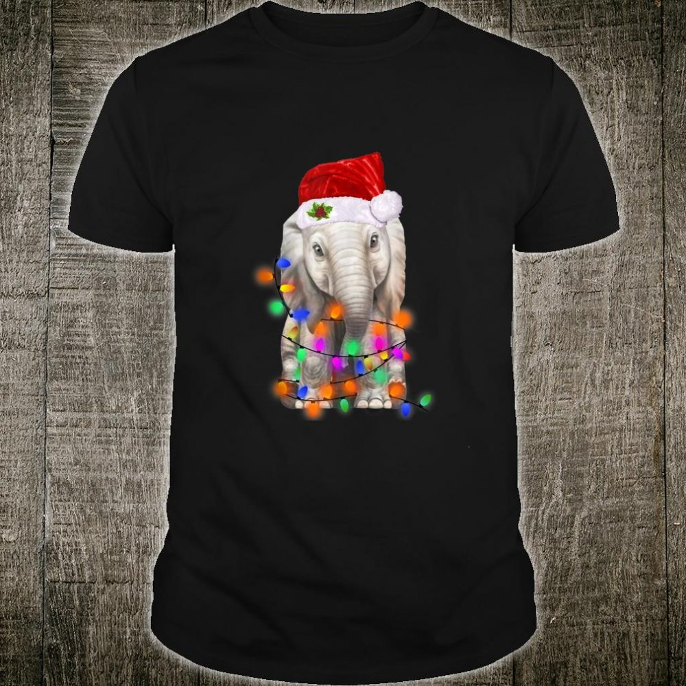 Elephant Santa Christmas Light Kid Shirt