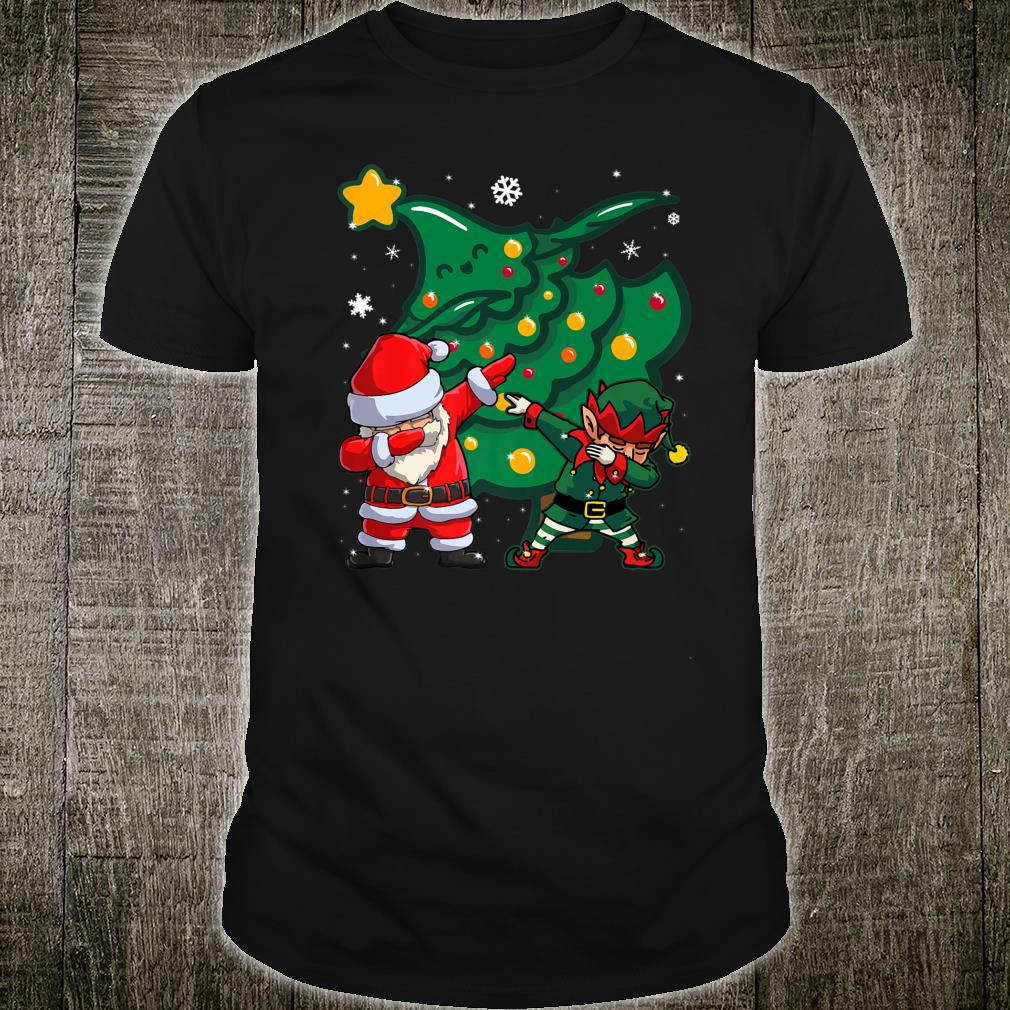 Elf and Santa Dabbing around Christmas Tree, Lights and snow Shirt