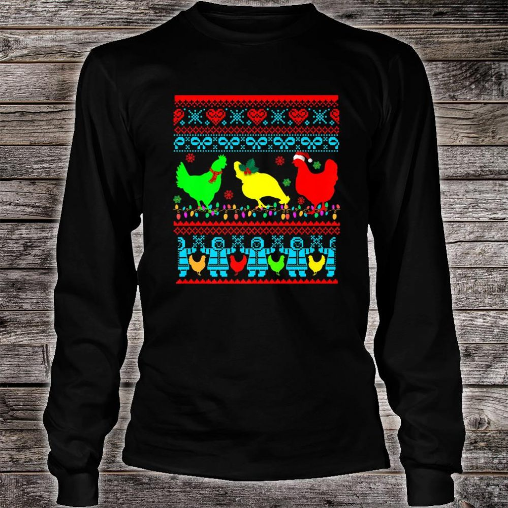 Farm Chicken Rooster Ugly Christmas Farmer Shirt long sleeved