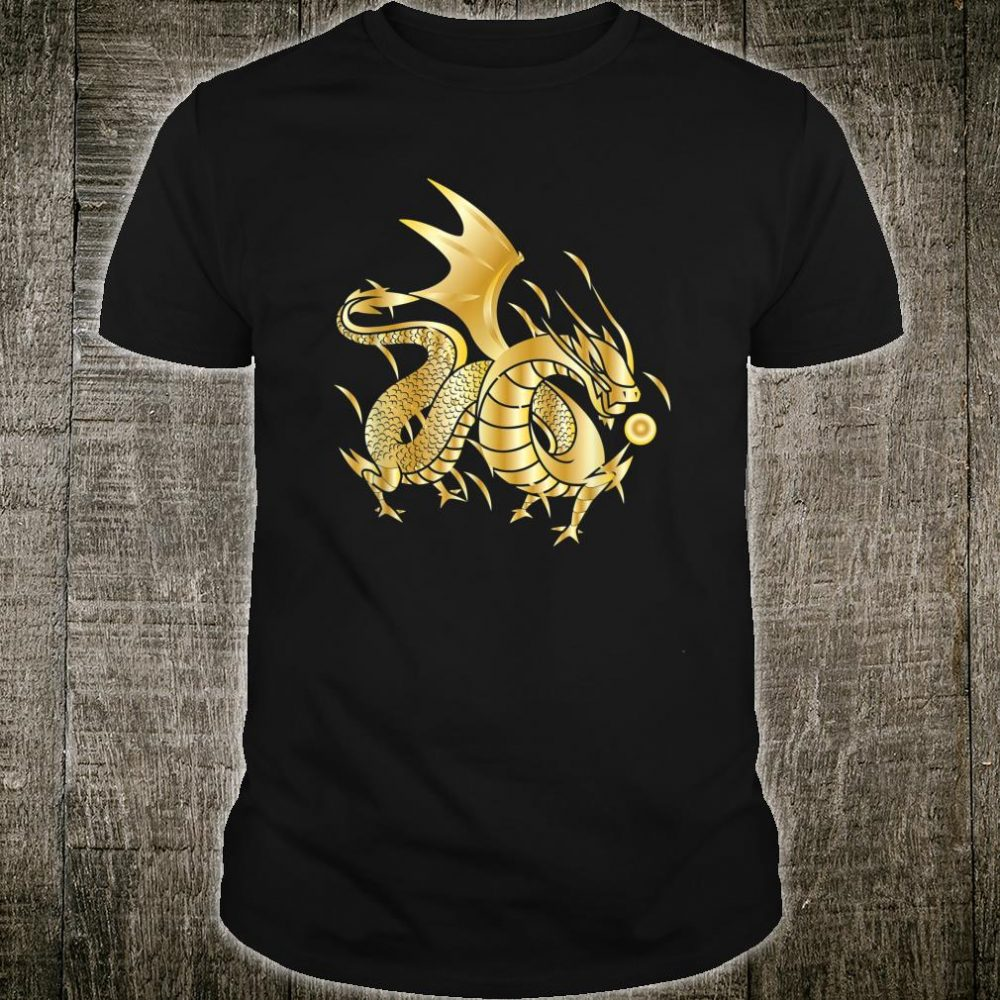 Fearless Golden Chinese Dragon Fire Ball Shirt