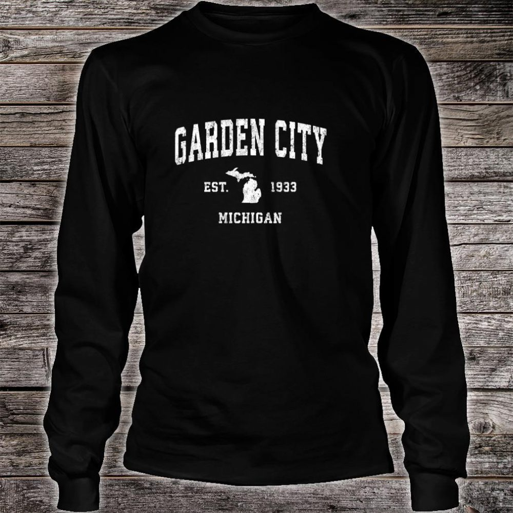 Garden City Michigan MI Vintage Athletic Sports Design Shirt long sleeved