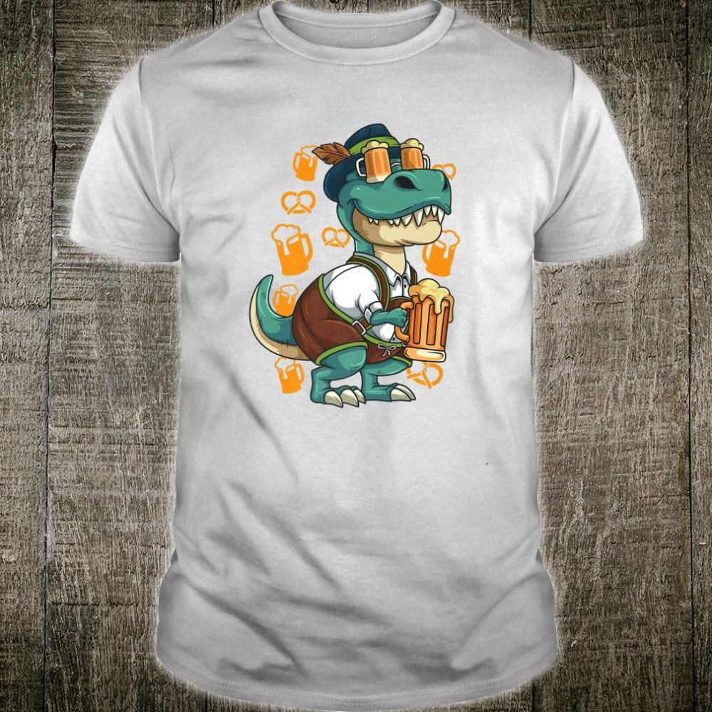 German Oktoberfest T Rex Lederhosen Beer Festival Party Shirt