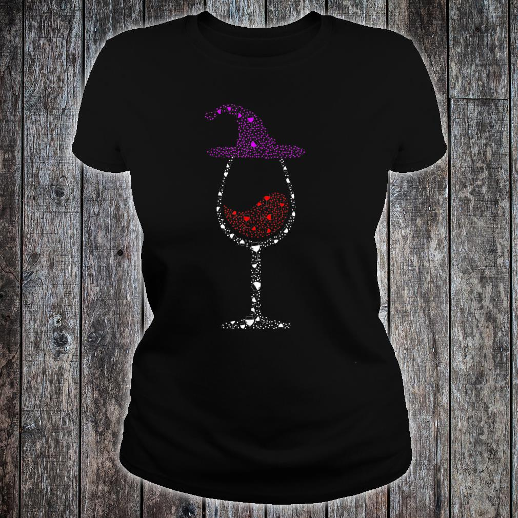 Glass Of Wines Witch Hat Cute Halloween Shirt ladies tee