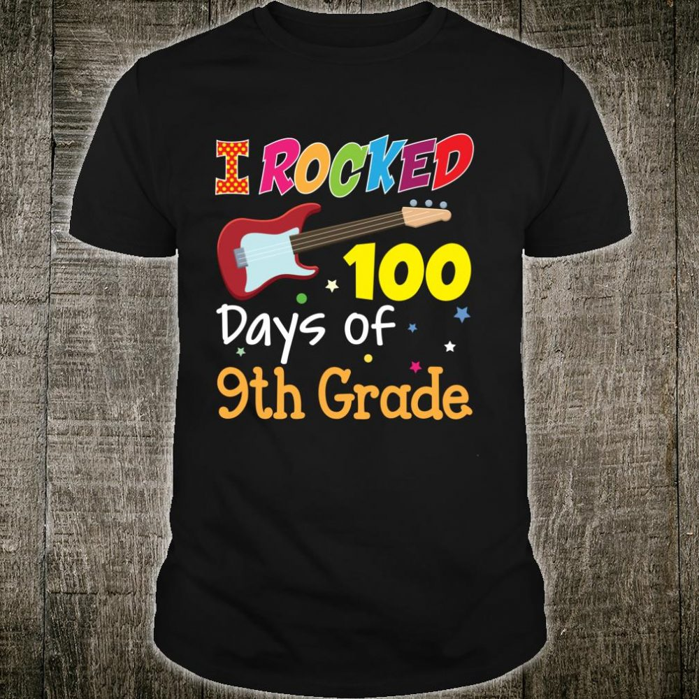 I Rocked 100 Days Of 9th Grade 100th Day Electric Guitar Shirt