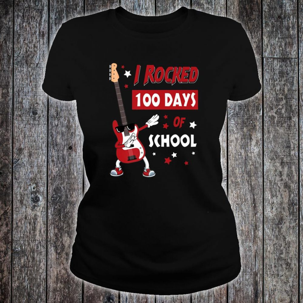 I Rocked 100 Days of School Dabbing Guitar Shirt ladies tee