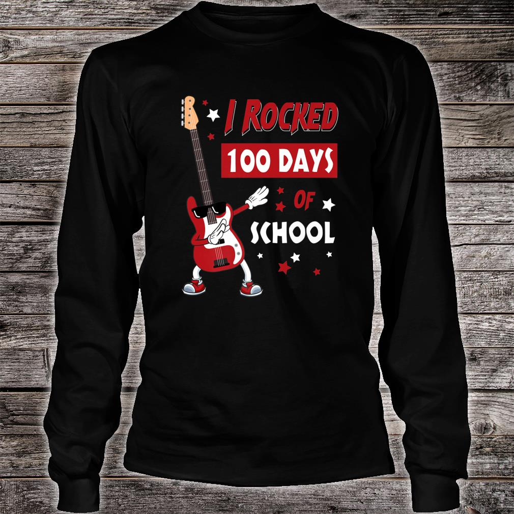 I Rocked 100 Days of School Dabbing Guitar Shirt long sleeved