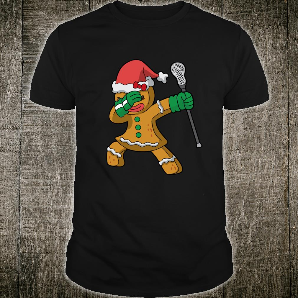 Lacrosse Dabbing Gingerbread Girl Santa LAX Christmas Shirt