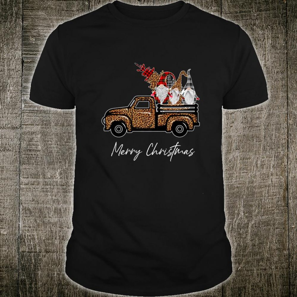 Leopard Buffalo Three Gnomes on Truck With Merry Christmas Shirt