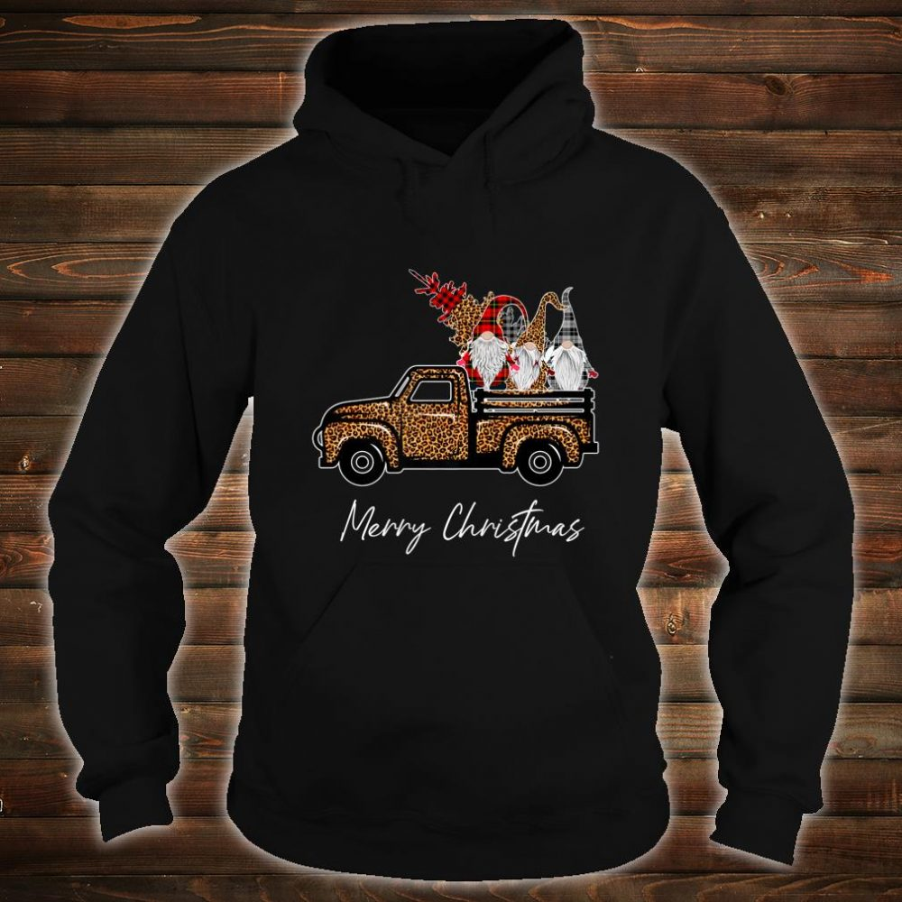 Leopard Buffalo Three Gnomes on Truck With Merry Christmas Shirt hoodie