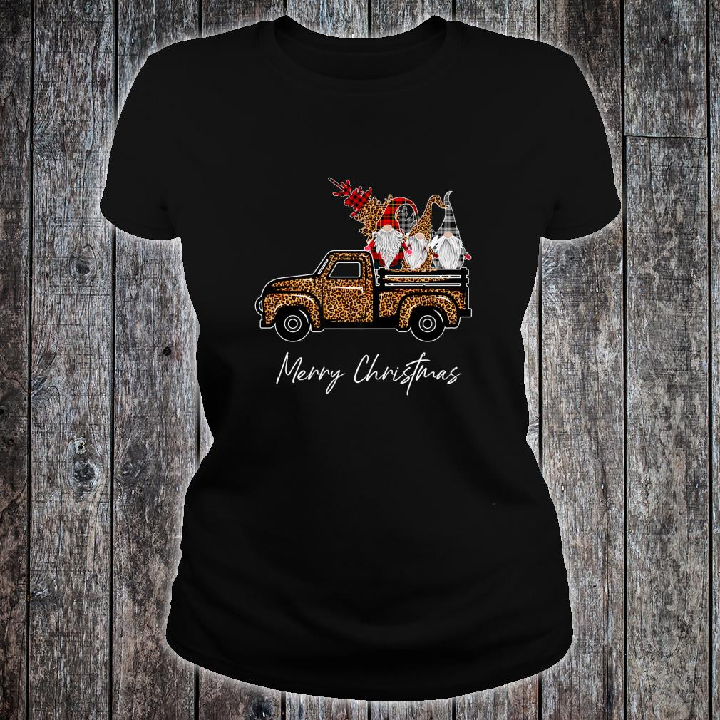 Leopard Buffalo Three Gnomes on Truck With Merry Christmas Shirt ladies tee