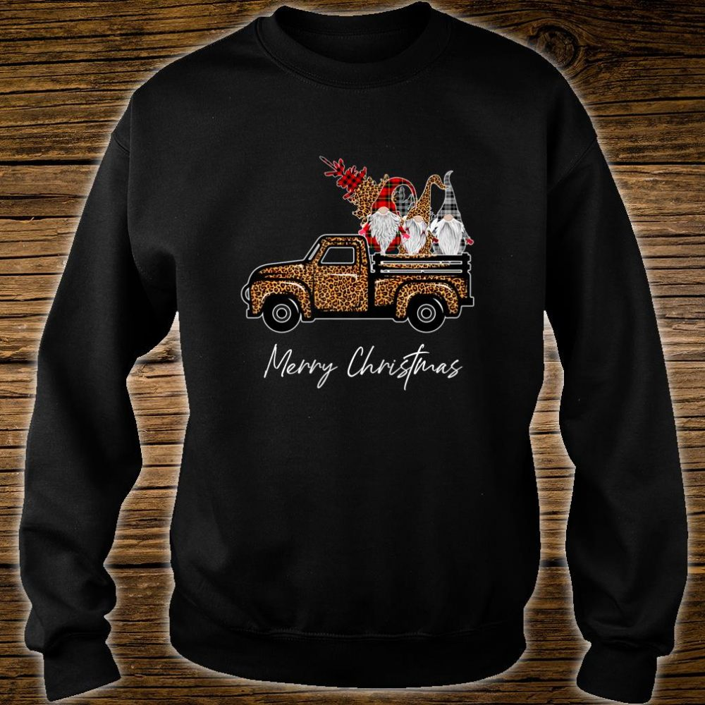 Leopard Buffalo Three Gnomes on Truck With Merry Christmas Shirt sweater