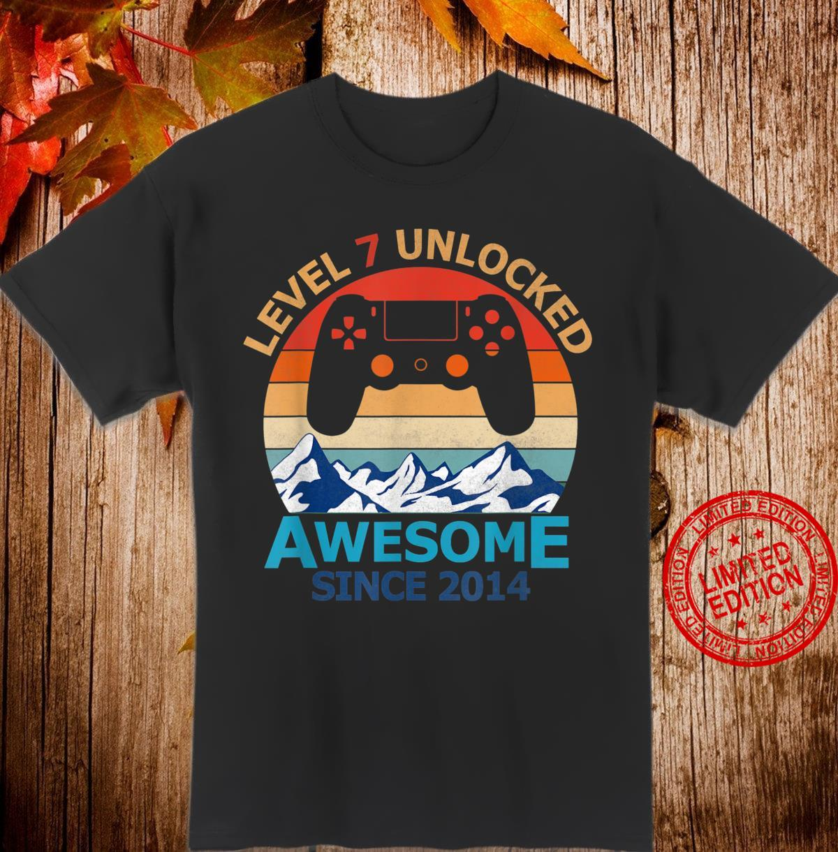 Level 7 Unlocked Birthday 7 Years Old Awesome Since 2014 Shirt