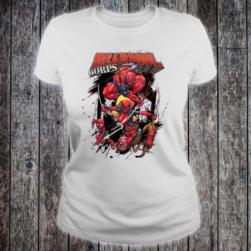Marvel Deadpool CORPS Family Attack Poses Shirt ladies tee
