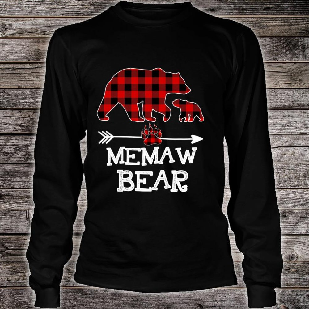 Memaw Bear Christmas Pajama Red Plaid Buffalo Family Shirt long sleeved