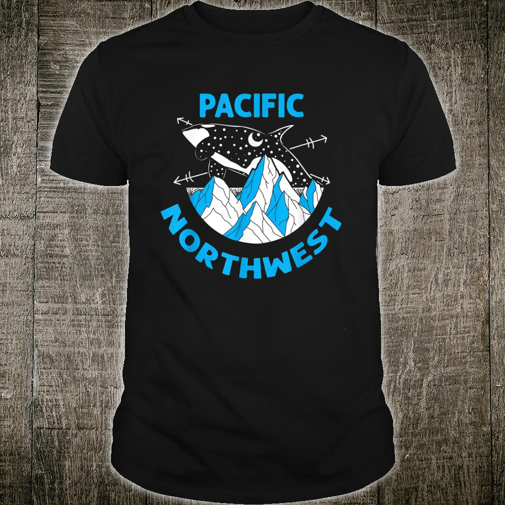 Pacific Northwest Orca Whale Tree Mountain Ocean PNW Gift T-Shirt