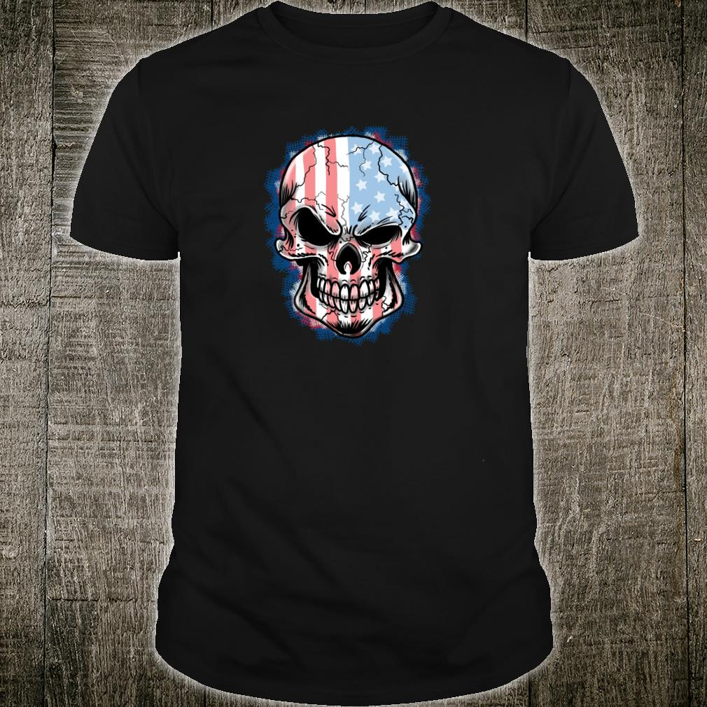 Patriotic Red White And Blue US Flag Skull Shirt