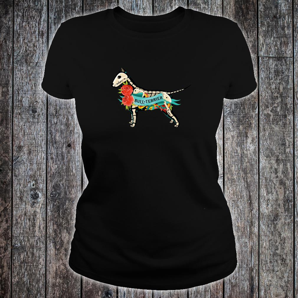 Pit Bull Terrier Day of Dead Inspired Dog Tattoo Style Shirt ladies tee