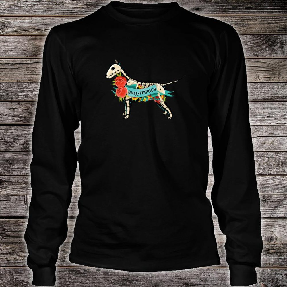 Pit Bull Terrier Day of Dead Inspired Dog Tattoo Style Shirt long sleeved