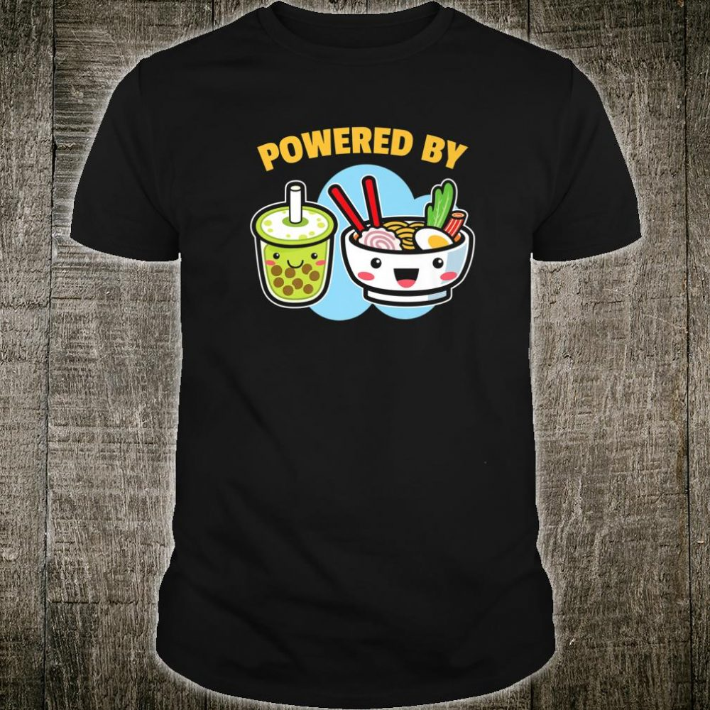 Powered By Bubble Tea Ramen Drink Cute Kawaii Boba Shirt