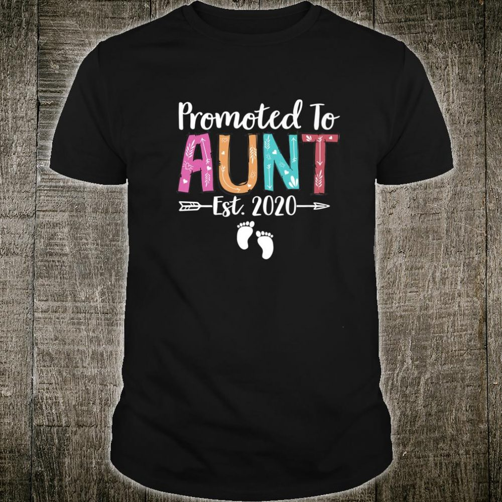Promoted To Aunt 2020 Cute Flower New Auntie To Be Shirt