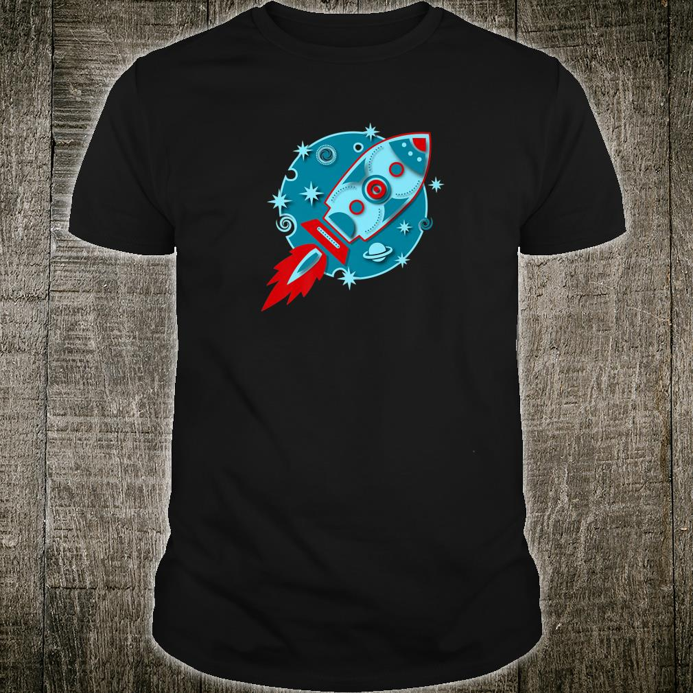 Retro rocket planet stars galaxy cosmos moon outer space Shirt
