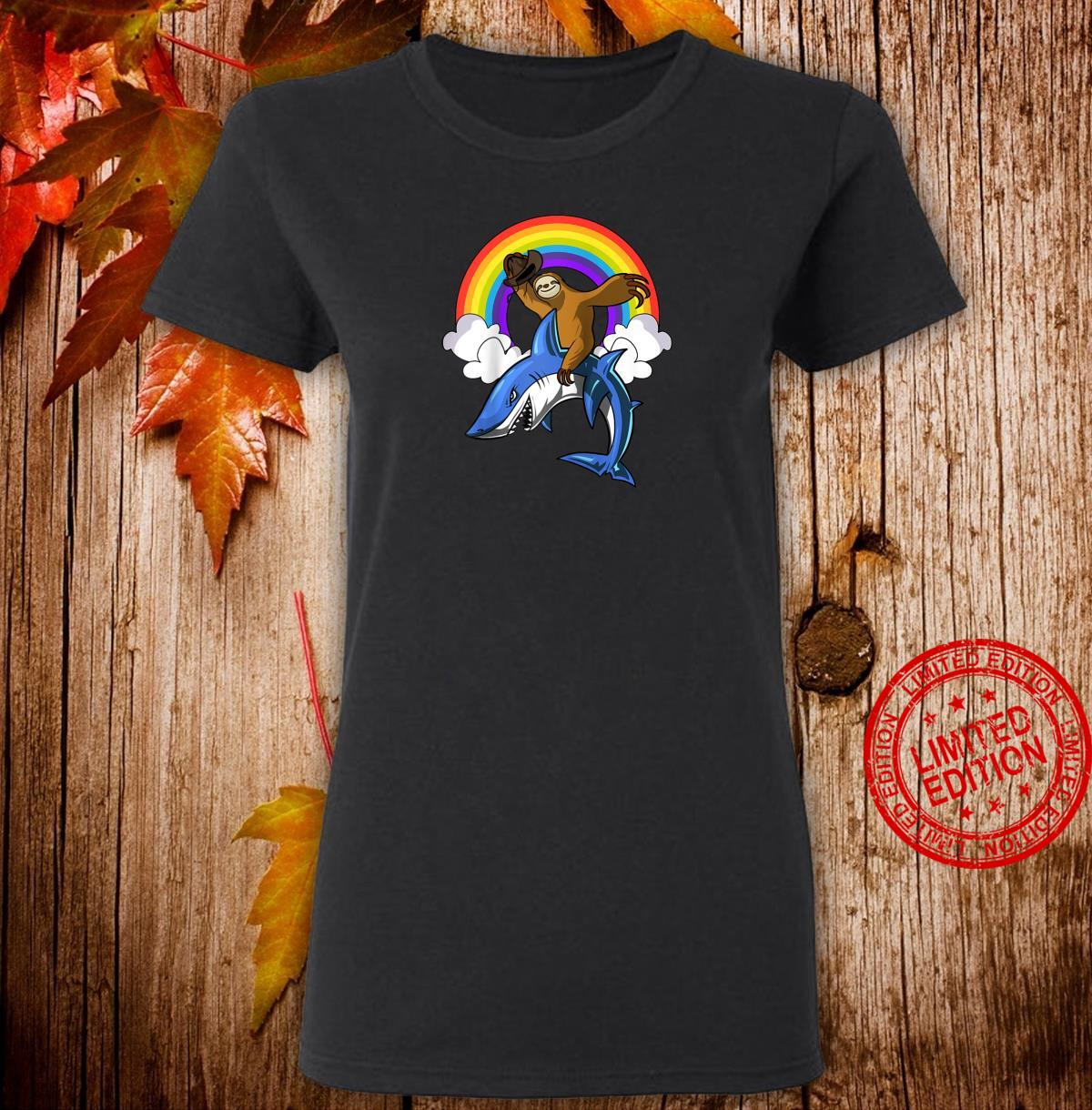 Sloth Riding Shark Ocean Animals Magical Rainbow Shirt ladies tee