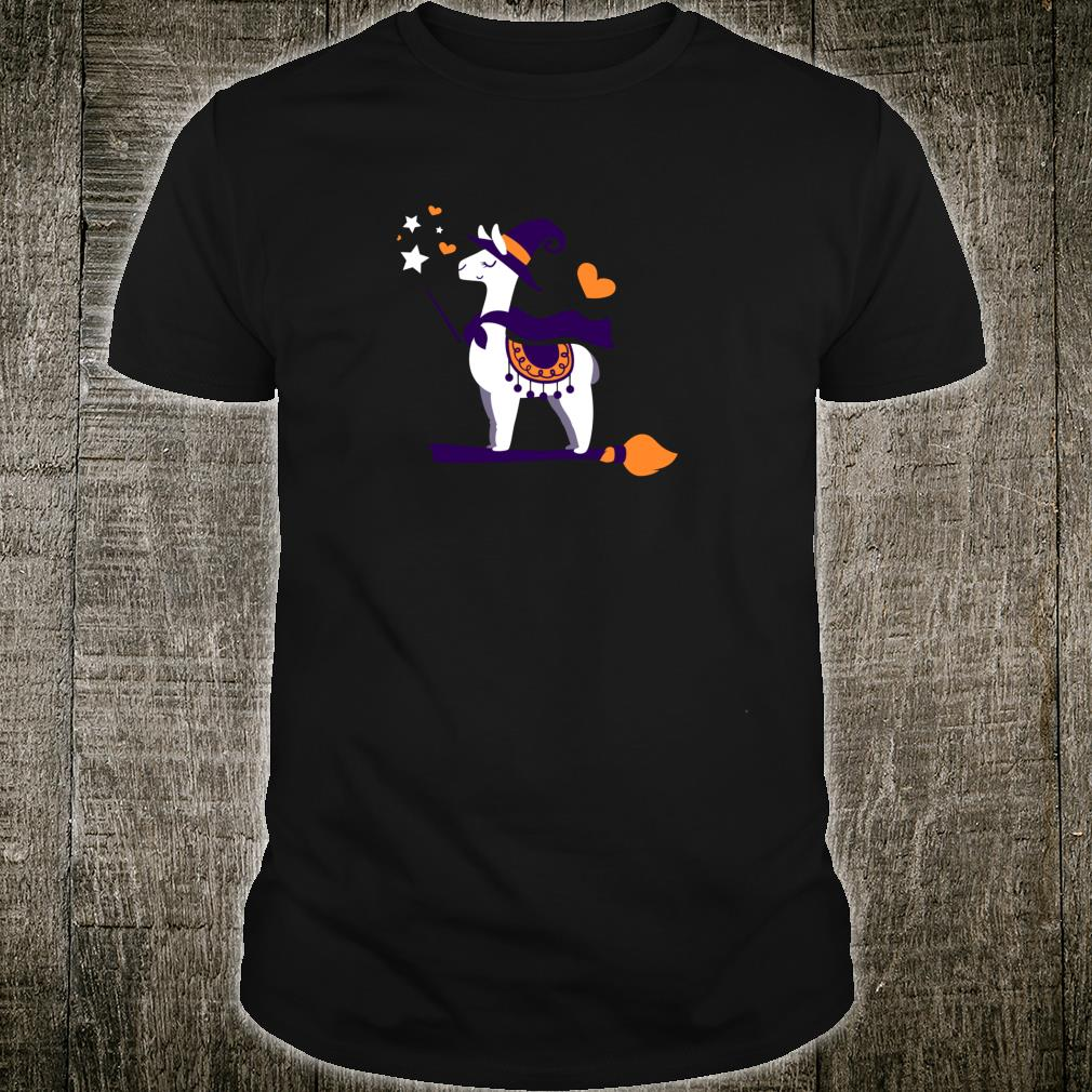 Witch Llama Riding In A Broom Cute Halloween Shirt